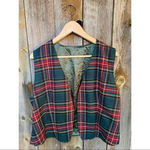 VINTAGE plaid wool open front vest red&green